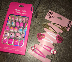 Claire's Birthday Girl Faux Stick On Nails Princess Hair Barrette Clip Lot