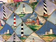 LIGHTHOUSE  100% COTTON FABRIC NEW QUILT NAUTICAL FQ  28