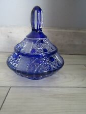 Cobalt Blue Cut to Clear Lead Crystal Covered Candy Dish Made in Germany