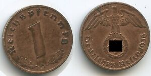 G7021 - Germany Third Reich 1 Reichspfennig 1936 A KM#89 VF-XF Scarce Swastika