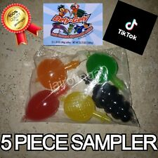 Dely-Gely TIK-TOK Fruit Jelly Fruit-Licious CANDY 5 Piece Set Sampler *IN HAND*