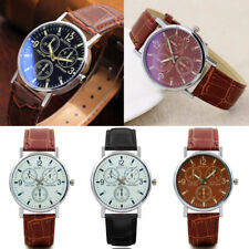 Military Leather Stainless Steel Quartz Analog Army Men Blue Glass Wrist Watch