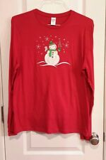 Cotton Snowman Winter  Longsleeved Red Tshirt size XXL/2XG FITS LIKE A REG. XL