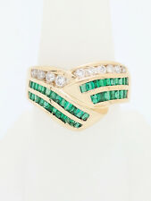 & Diamond Right Hand Ring Size 8 Ladies 14k Yellow Gold 1ctw Channel Set Emerald