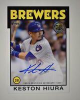 2021 Series 1 1986 Topps Baseball Auto #86A-KHI Keston Hiura - Milwaukee Brewers