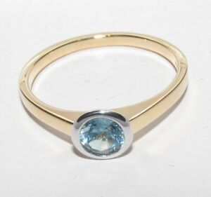 DAZLING  SECONDHAND 18ct YELLOW GOLD TOPAZ SOLITARE RING SIZE P 1/2