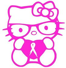 "HELLO KITTY DECAL CANCER AWARENESS  4"" Vinyl Window Sticker (10 COLORS)"
