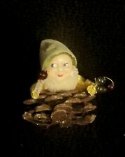 Vintage Pinecone Pixie Elf Gnome Christmas Ornament Holding Mercury Glass Balls