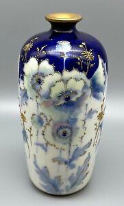 "Teplitz RStK Stellmacher Art Nouveau 7"" Blue & Green Flowers Amphora Vase"