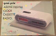 Vintage Gran Prix Am/Fm Digital clock cassette radio white New in box