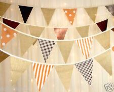 Bunting, hessian, orange brown various length, weddings, rustic barn dance,