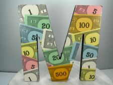 "Unique 8"" DECOUPAGE MONOPOLY GAME MONEY Wood Initials Letter M ORIGINAL DECOR"