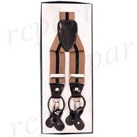 New Y back Men's Suspenders Braces clip on convertible Navy blue beige Stripes