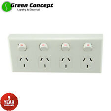 NEW Quad Power Point GPO Four 4 Gang Socket Outlet Powerpoint White 5 YR WRNTY