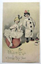 Early UDB Ink Pen Ball Pierrot & Pierrette CLOWNS Embossed NEW YEAR Postcard