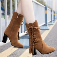 Womens Suede High Block Heel Mid Calf Boots Tassel Round Toe Lace up Winter Shoe