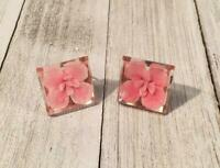 Vintage Reversed Carved Lucite Pink Flower Screw On Earrings Jewelry