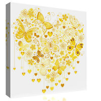 Yellow / Mustard Heart of Butterflies Abstract Canvas Wall Art Picture Print