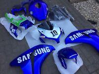 08-11 Honda CBR Cbr1000rr Fireblade Full Fairing Kit Samsung Blue Damaged