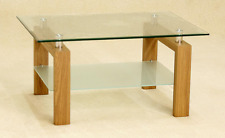 Adina Coffee Table with Clear & Frosted Glass and Oak Effect Legs Free Delivery