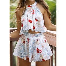 Verano Mujeres Chifón Estampado Camisa Camisetas De Tirantes Blusa Tops + falda