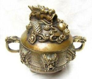 Chinese Handwork carved bronze dragon incense burner Ming dynasty Xuande Mark