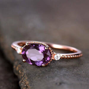 3Ct Oval Cut Amethyst Solitaire Women's Engagement Ring 14K Rose Gold Finish