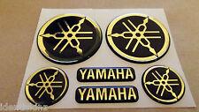 DOMED YAMAHA BIKE ROUNDAL STICKERS DECAL GOLD / BLACK FULL KIT FORKS / TANK
