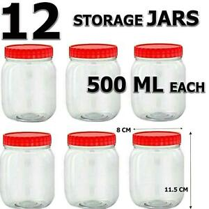 STORAGE JARS Containers with Screw Top Lids Food Canisters SET OF 12