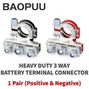 2PCS Car Battery Terminal Connectors Quick Release Disconnect Positive Negative