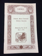 1974 AMICA MEMBERSHIP LIST AUTOMATIC MUSICAL INSTRUMENT COLLECTORS ASSOCIATION