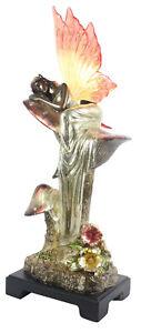 45CM TABLE LAMP ART NOUVEAU/DECO POLYSTONE BRONZE FAIRY RESIN WING SHADE + BULB