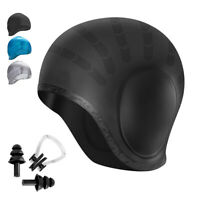 Unisex Adult Easy Fit Silicone Swimming Hat Cap Waterproof Ear Cover Nose Clip