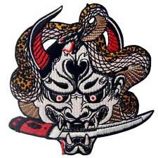 Embroidered Iron Sew on Patches Transfers Badge Appliques Emblem Hannya Oni Mask