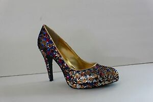 Nine West Women's Shoe Size 7.5 / 9 M Sequin Platform High Heel Pumps Sandal
