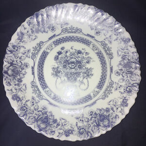"Vintage Arcopal France 10 3/4"" Blue & White Floral Glass Scalloped Dinner Plate"