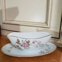 """VTG 50'S-60'S Noritake """"Luise""""  RARE PIECE~GRAVY BOAT WITH ATTACHED UNDERPLATE"""