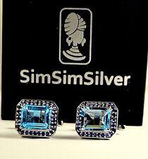 New Design 925 Sterling Silver Fine Natural Blue Topaz & Blue Sapphire Cufflinks
