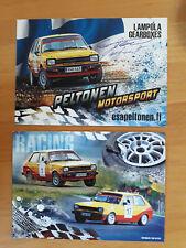 PROMOCARD bifacciale PELTONEN SAARTO MOTORSPORT Rally Racing Autografata a mano