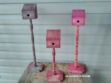 Primitive Birdhouses on spindles with bases. Buy one  or all three! .