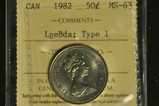 Canada 1982 50 cent pieces x2 - Large Beads and Small Beads - ICCS - MS63 -