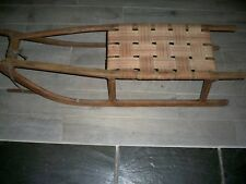 "Vintage Winter Sled Sleigh Antique 1900s Wood Iron Webbing 33"" Snow Runners NICE"
