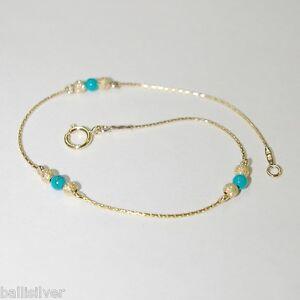 3 pcs 14kt Gold Filled Chain, 3mm Stardust & Green Turquoise Bead BRACELETS Lot