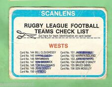 1979  WESTERN SUBURBS MAGPIES   RUGBY LEAGUE CHECKLIST CARD - MARKED