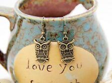 Owl Bronze Drop Earrings Women's Fashion  Hanging Jewelry Accessory New