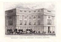 1840 Victoriano Estampado ~ Regent Circo ~ Oxford Calle Londres