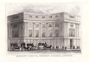 1840 Victorien Imprimé~Regent Cirque~Oxford Rue London