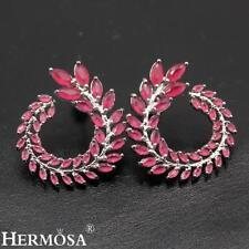 Cherry Ruby Elegant Gift 925 Sterling Silver Stud Earrings Goddess Laurel Design