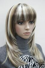 fashion three tone mix centre skin top straight under shoulder long bangs wig