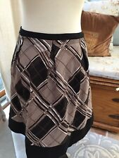 BCBG Max Azria Brown Black Plaid Box Pleated Aline Skirt 6 Excellent